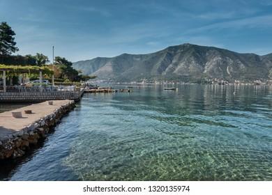 Kotor bay coastline with cruiseships, Montenegro