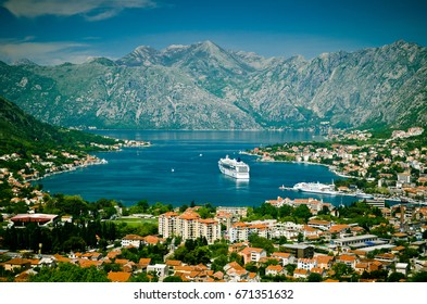 Kotor bay and Old Town from Lovcen Mountain. Montenegro.Kotor. Boko-Kotor Bay. The most popular tourist attraction in Montenegro. Top view