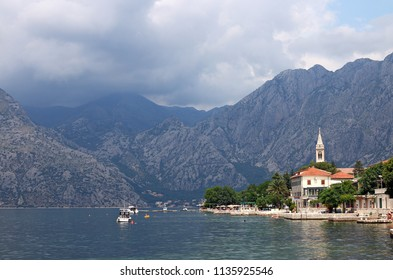 Kotor bay sea and mountains with clouds landscape
