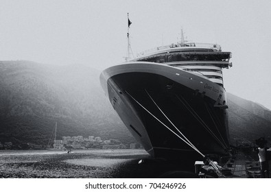 Kotor, Montenegro, 15 AUGUST 2017: The cruise liner leaves the Bay of Koto, Kotor, Montenegro, 15 AUGUST 2017