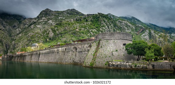 Kotor, Montenegro - 19/04/2017 : The old Mediterranean port of Kotor is surrounded by fortifications built during the Venetian period. It is located on the Bay of Kotor.