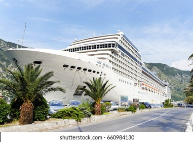 Kotor, Montenegro, 2 june 2017. The beautiful cruise ship MSC Musica moored in the port  of Kotor, Montenegro, Europe