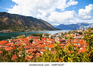 KOTOR, MONTENEGRO - 22 AUGUST 2015 - Aerial view of Kotor; The old Mediterranean port of Kotor is surrounded by fortifications built during the Venetian period. It is located on the Bay of Kotor.