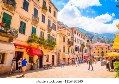 KOTOR, MONTENEGRO, 27.06.2016: Beautiful narrow streets of old town Kotor, Montenegro.