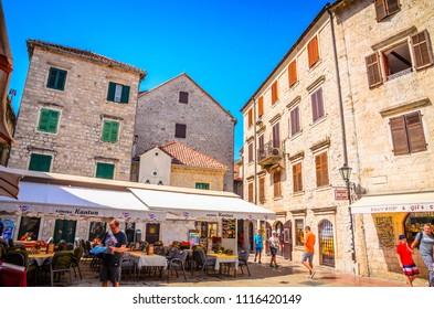 KOTOR, MONTENEGRO, 27.06.2016: Beautiful narrow streets of old town Kotor, Montenegro.