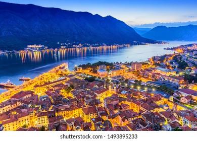 Kotor, Montenegro. Aerial view of Kotor Bay and Old Town at night.