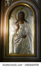 KOTOR, MONTENEGRO - APR 25, 2019 - Icon of Jesus Christ on the iconostasis of Church of St. Nicholas, patron saint of sailors,Kotor, Montenegro