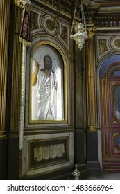 KOTOR, MONTENEGRO - APR 25, 2019 - Icon of Madonna and child on the iconostasis of Church of St. Nicholas, patron saint of sailors,Kotor, Montenegro
