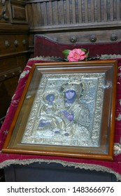 KOTOR, MONTENEGRO - APR 25, 2019 - Icon of Madonna and child in Church of St. Nicholas, patron saint of sailors,Kotor, Montenegro