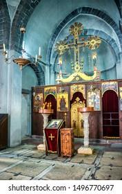 KOTOR, MONTENEGRO - AUG , 2019: The altar of the Kostel svateho Lukase (Church of St. Luke) is seen on October 20, 2018 in Kotor, Montenegro.