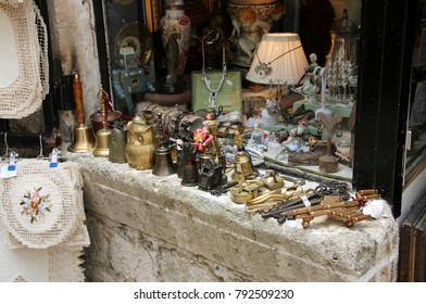 KOTOR, MONTENEGRO - AUGUST 30, 2017: Souvenirs in a souvenir shop in the Old Town of Kotor. The old part of Kotor is a UNESCO World Heritage site and a famous tourist attraction