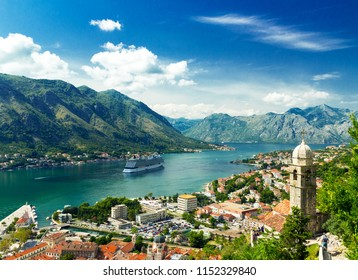 Kotor in Montenegro. Bay of Kotor the most beautiful landscape on Adriatic Sea