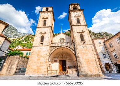 Kotor, Montenegro - Cathedral of Saint Tryphon, Lovcen mountain background. Adriatic Sea.