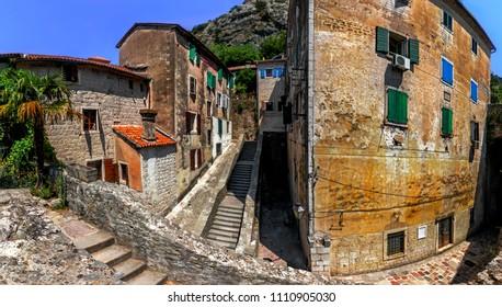 Kotor, Montenegro.  Empty streets of old medieval town Kotor, Montenegro.