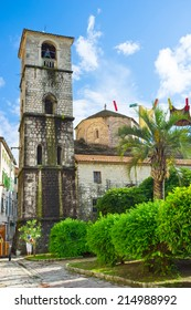 KOTOR, MONTENEGRO - JULY 12, 2014: The scenic garden located next to the St Ozana's Church, also called the Church of the St Mary of the River, on July 12 in Kotor.