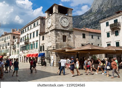 KOTOR, MONTENEGRO - July 25, 2018: View of the Arms Square in the Old Town of Kotor. Kotor is a city on the coast of Montenegro and is located in Kotor Bay.