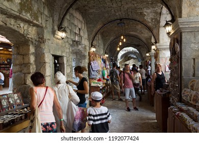 KOTOR, MONTENEGRO - July 25, 2018: souvenir market in the Old Town of Kotor. Kotor is a city on the coast of Montenegro and is located in Kotor Bay.