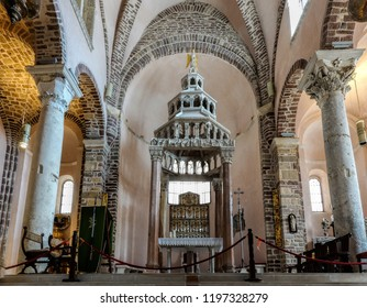 Kotor, Montenegro, July 30, 2018: The altar of the Saint Tryphon cathedral, consecrated in 1166.