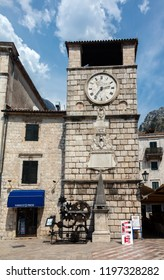 Kotor, Montenegro, July 30, 2018: The Clock Tower, built in the 17th century in Baroque style on the Kotor's  town square.