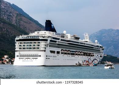 Kotor, Montenegro, July 30, 2018: Norwegian Star cruise ship in the Bay of Kotor, Montenegro