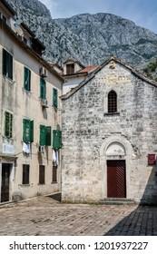 Kotor, Montenegro, July 30, 2018:  The 14th century church of St. Michael in Kotor, Montenegro