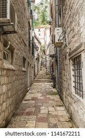 KOTOR, MONTENEGRO - JUNE 16, 2018: View of the Old Town of Kotor. Kotor is a city on the coast of Montenegro and is located in Kotor Bay.