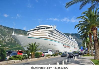 Kotor, Montenegro, June,24, 2015. Large cruise ship Cristal Serenity in Boka Kotorsky Bay