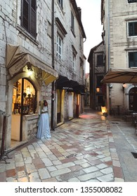 Kotor, Montenegro. March 2019: Beautiful narrow streets of old town.