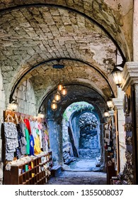 Kotor, Montenegro. March 2019: Souvenirs selection from old town Souvenir trade. Handcrafted items in traditional bazaar.