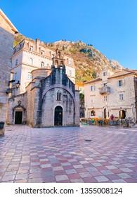 Kotor, Montenegro. March 2019: St Luka's Church View