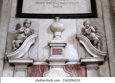 KOTOR, MONTENEGRO - MAY 02, 2019: Angels, statue on the High Altar in the Catholic Church of the Saint Clare in Kotor, Montenegro