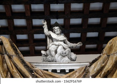 KOTOR, MONTENEGRO - MAY 02, 2019: God the Father, statue on the High Altar in the Catholic Church of the Saint Clare in Kotor, Montenegro