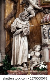 KOTOR, MONTENEGRO - MAY 02, 2019: Saint Francis, statue on the High Altar in the Catholic Church of the Saint Clare in Kotor, Montenegro