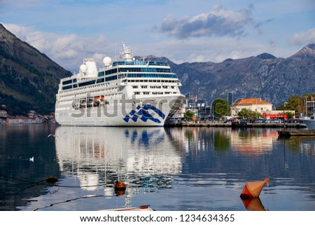 Kotor,  Montenegro,  November 18,2018.  The Pacific Princess cruise ship arrives in the port of the old town of Kotor.