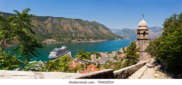 Kotor, Montenegro - November 21, 2017: Kotor bay is one of the most beautiful places on Adriatic Sea, it boasts the preserved Venetian fortress, old tiny villages, medieval towns and scenic mountains.