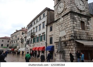 Kotor, Montenegro, November 26th 2018: Shopping street in Kotor old town