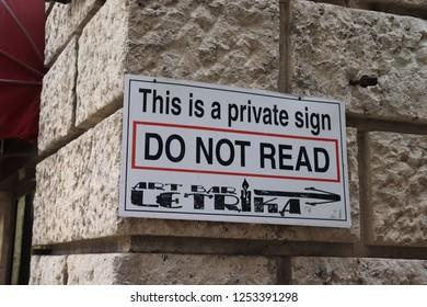 Kotor, Montenegro, November 26th 2018: Funny sign in Kotor old town