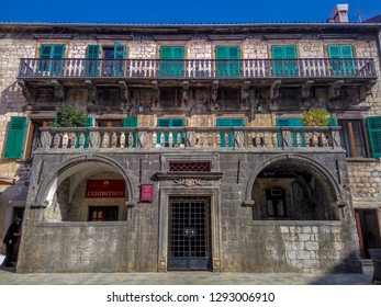 Kotor, Montenegro - Ocrobar, 20, 2017 Old architectural landmark with small green Windows in the old town of Kotor