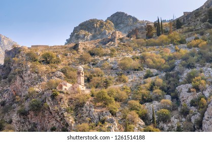 KOTOR, MONTENEGRO - OCTOBER 20, 2018: The Crkva Gospe od Zdravlja (Church of Our Lady of Remedy) is seen on October 20, 2018 in Kotor, Montenegro.