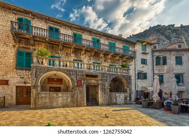 KOTOR, MONTENEGRO - OCTOBER 20, 2018: The Pima palace is seen at the Trg od Brasna square (Flour square) on October 20, 2018 in Kotor, Montenegro.