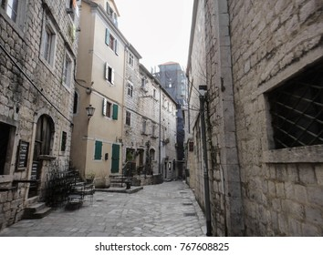 KOTOR, MONTENEGRO - SEPTEMBER 13 2015: Buildings and streets of Kotor town in Montenegro