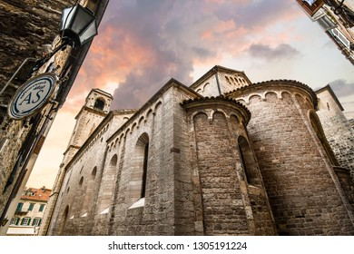 Kotor, Montenegro - September 18 2018: The imposing rear facade of the Kotor Cathedral of Saint Tryphon in the ancient city of Kotor, Montenegro.