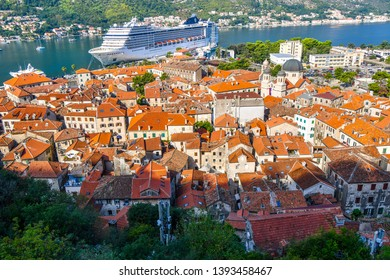 Kotor, Montenegro - September 20 2018: A view from the Kotor Castle of the Boka Bay of Kotor, the cruise port and the medieval Old Town of Kotor, Montenegro