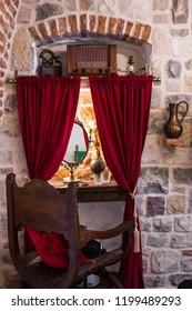 Kotor, Montenegro- September 2018: Interiors of the 18th century building