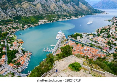 KOTOR, MONTENEGRO - SEPTEMBER 21, 2015: Beautiful view from above on the Kotor and Bay of Kotor, Montenegro