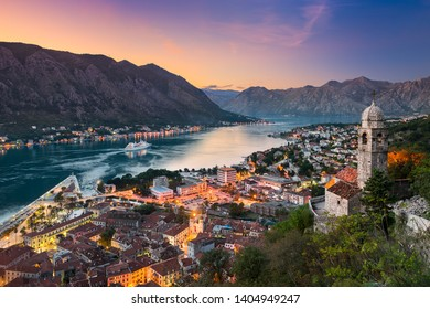 Kotor town in the Bay of Kotor, Montenegro