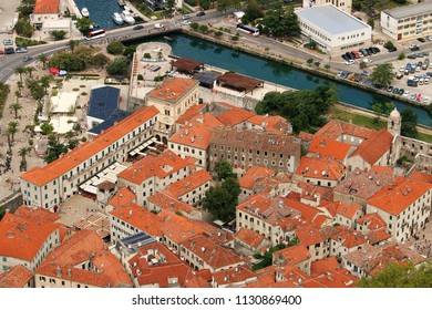 Kotor town old stone houses and buildings Montenegro
