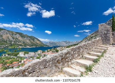 Kotor and the trail to the Kotor Fortress in Montenegro.