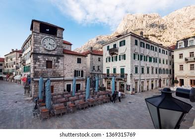 Kotor,Montenegro - 27 March 2019 - View at street in Kotor old town.Montenegro