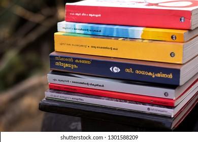 Kottayam, Kerala/ India- January 29, 2019: A set of Malayalam novels displayed